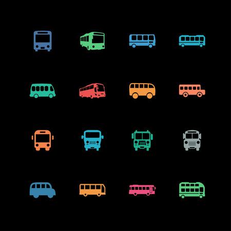 omnibus: Bus vehicle automobile icon set