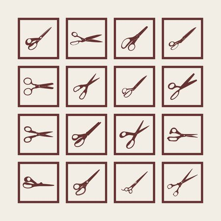 hairstyling: scissors cut tool icon set