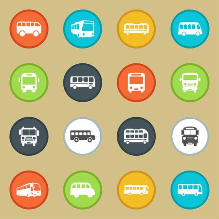 chofer de autobus: Vehículo Bus icono automovilístico conjunto Vectores