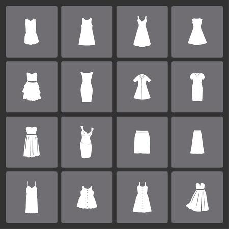 Dress clothes market icon set