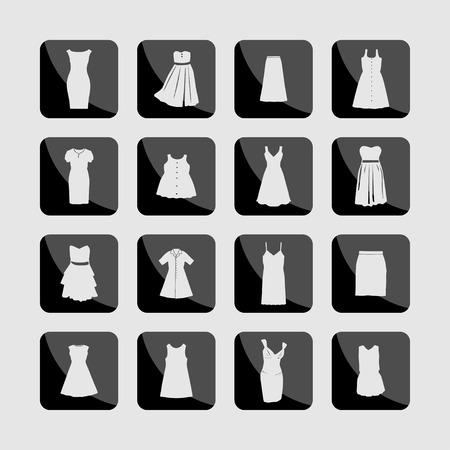 icon set: Dress clothes market icon set