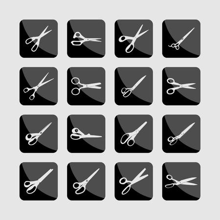 hair cutter: scissors cut tool icon set