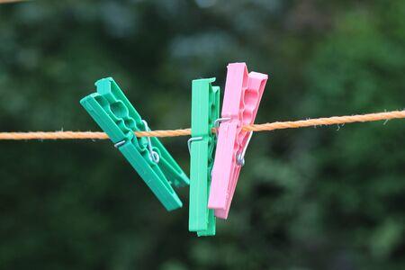 Colorful clothespin in garden