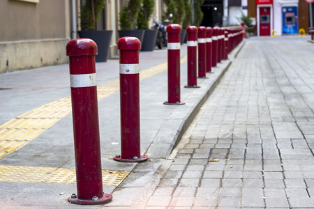 Perspective shoot of walkline red colored iron bars