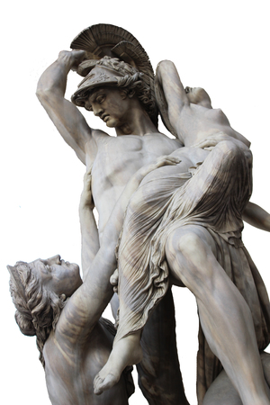 Isolated shoot for old marble renaissance female greek mythology sculpture scene in florence Stock Photo