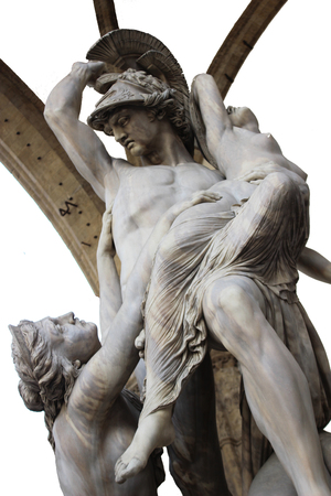 Isolated shoot for old marble renaissance female greek mythology sculpture scene with background in florence