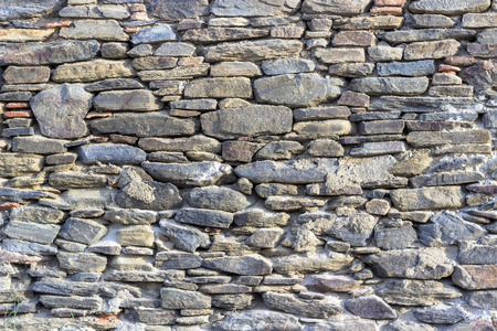 Clean shoot of contrast masonry stone wall made by turkish wall craftsman Imagens