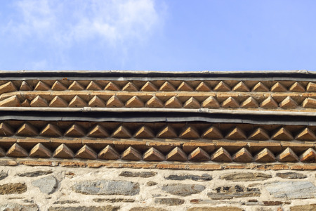 Close-up shoot of 500 years old masony mosque roof detail in local places of Turkey