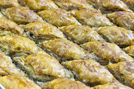 Close-up shoot of turkish traditional baklawa under clean light