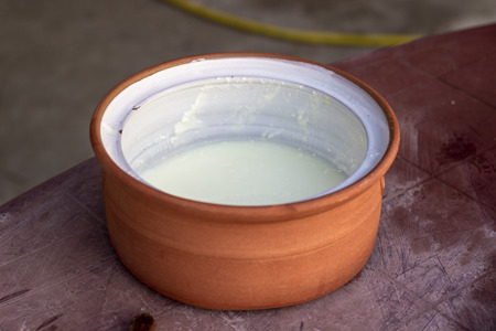 Clean shoot of traditional handmade yoghurt cup