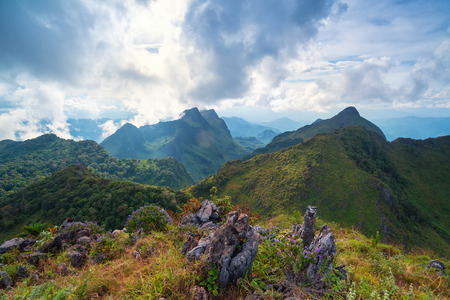 View Great mountains national park scenic Landscape seen from Doi Luang Chiang Dao, High mountain in Chiang Mai Province, Thailand. 스톡 콘텐츠