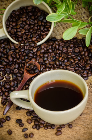 americano: Americano coffee and coffee beans