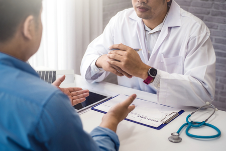 Doctor consultation with male patient health disease in medical clinic or hospital health. health and doctor concept. Stock Photo