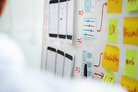 Creative development of programming websites for mobile applications. User experience Design concept.