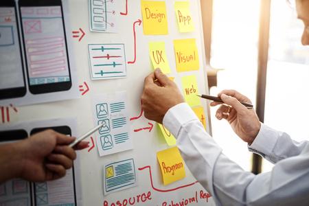 Grupo creativo de diseñadores de UX que trabaja en la planificación de proyectos de aplicaciones móviles con notas adhesivas. Concepto de experiencia de usuario.