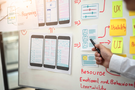 Website designer development UI/UX desing about sketched notes wireframe layout mobile application project. User experience concept.