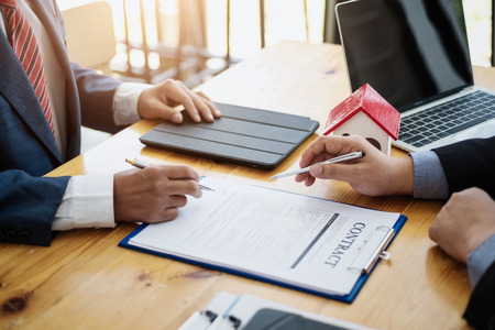 Business man discussion investment with sign a contract in meeting room. contract and agreement concept.