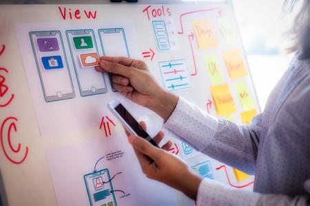Mujer diseñadora web haciendo una aplicación de dibujo de bocetos de prueba para teléfono móvil en la oficina. Experiencia de usuario Concepto de diseño. Foto de archivo