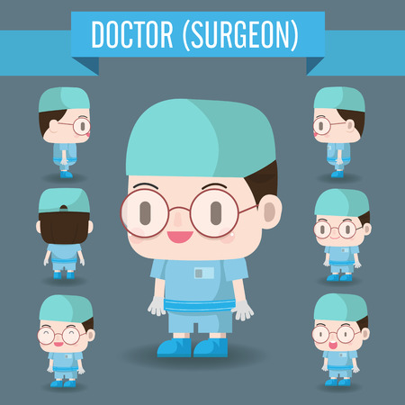 hes: Cute Character illustration of a Doctor in the Hospital. Hes is an surgeon expert. Illustration