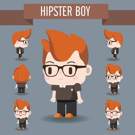 cool guy: Cute Character illustration of Hipster Boy. He look smart with his Red hair and Cool Glass.