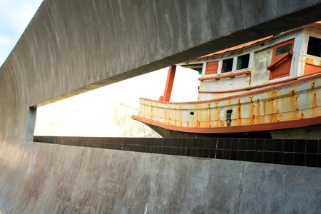 Tsunami Memorial in Thailand. Beautiful ship Beautiful Lighting Beautiful Design.