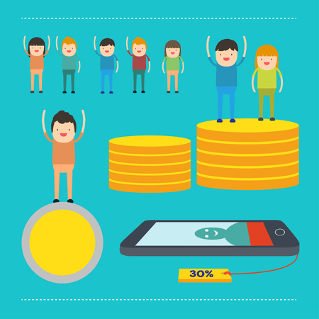 earn money: people man and woman earn money and coin ,feel so happy Illustration