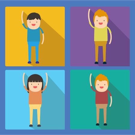 gens heureux: colourful happy people flat icon