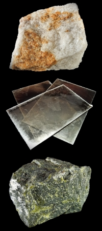 closeups: Close-ups of rocks and minerals on black  From top to bottom  Yellow aventurine, Muscovite, Serpentine