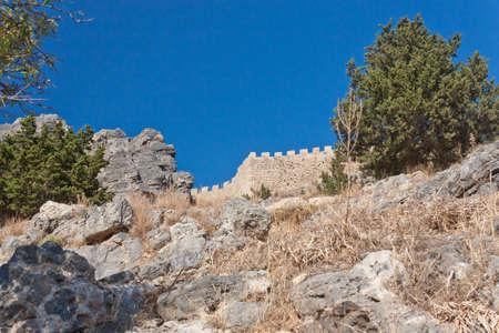 Ancient city wall at high rock Editorial