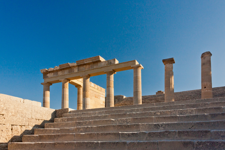 stage of the ancient acropolis. Bottom view of the column.