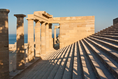 steps and columns of the ancient acropolis. Side view. Stock Photo