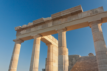 stone columns of the acropolis. stage on the backgound. Stock Photo
