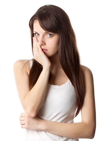 dolor de muelas: Mujer con dolor de muelas aislado en blanco Foto de estudio Foto de archivo