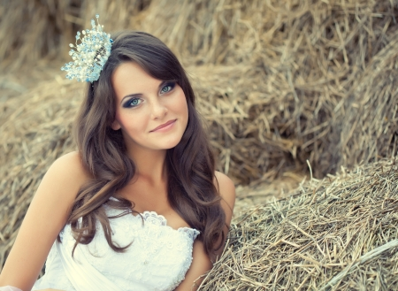 A beautiful bride is on the nature Stock Photo