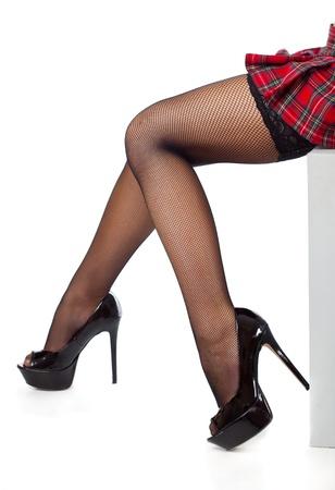 Beautiful legs in black stockings