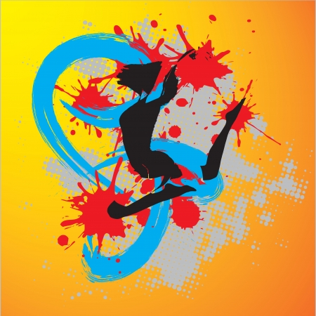 Music party flyer with jumping girl  illustration Vector