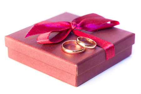 Golden wedding rings with decoration Stock Photo - 17968997