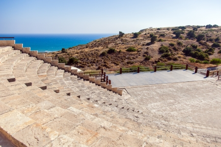 Ruins of an early Christian basilica in ancient town Kourion on Cyprus Stock Photo