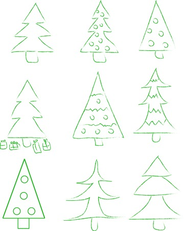 newyear: Set of 9 new-year (christmas) tree. Vector illustration