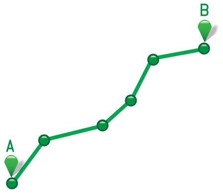 Pad van punt A naar punt B. Vector illustratie