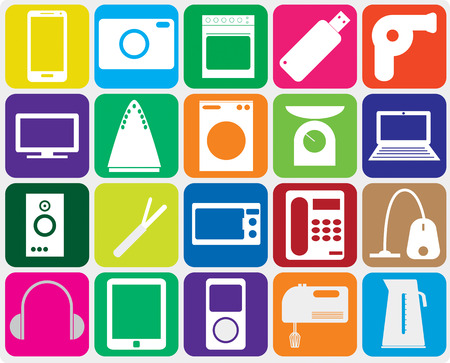 Twenty gadgets for home on gray background. Vector illustration Vector