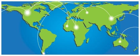 Map of world with trading paths and points. Vector illustration Vector