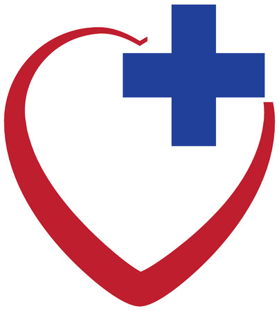 Heart with cross  Medical concept  Vector illustration