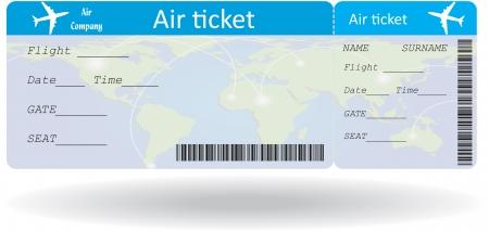 Variante di biglietto aereo isolato su bianco. Illustrazione vettoriale