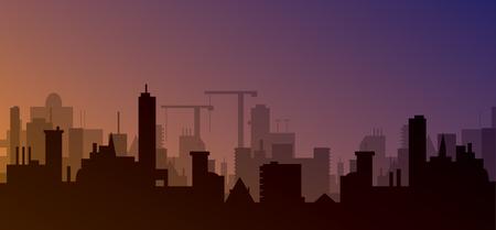 city scape: silhouette of town with sunset. Vector illustration Illustration