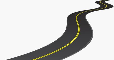 곡선: 도로. 흰색 일러스트 레이터에 고립