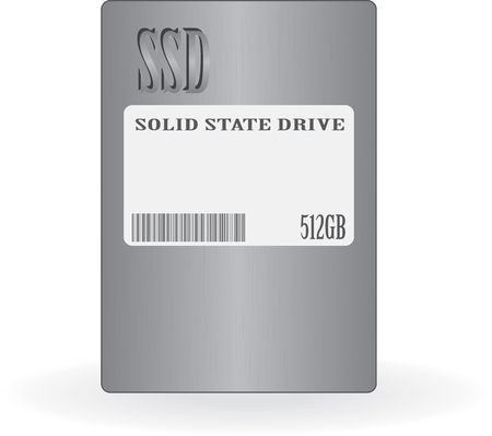 sata: Solid state drive (SSD). Isolated on white illustration