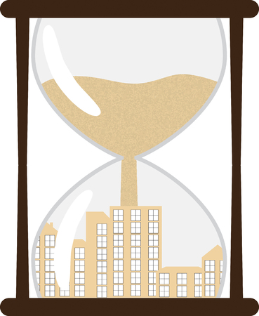 Hourglass with town inside. Vector