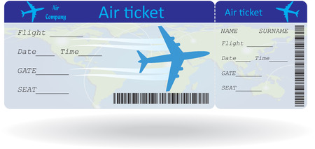 passenger airline: Variant of air ticket isolated on white. Vector illustration