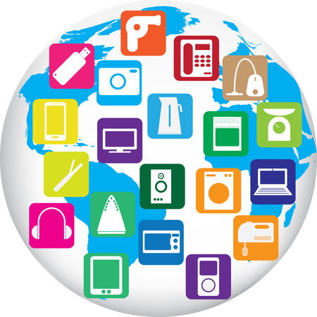 Twenty gadgets for home on globe of world. Vector illustration Vector